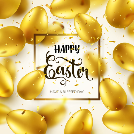 Easter golden egg with calligraphic lettering, greetings. Confetti and ribbon.Traditional spring holidays in April or March. Sunday. Eggs and gold. Zdjęcie Seryjne - 95254161