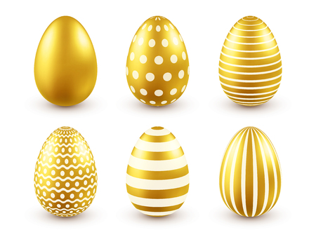Easter golden egg. Traditional spring holidays in April or March. Sunday. Eggs and gold.Big set Zdjęcie Seryjne - 95254162