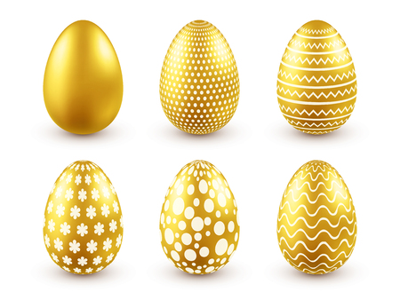 Easter golden egg. Traditional spring holidays in April or March. Sunday. Eggs and gold.Big set Stok Fotoğraf - 95243612