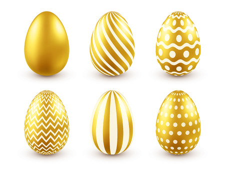Easter golden egg. Traditional spring holidays in April or March. Sunday. Eggs and gold.Big set Zdjęcie Seryjne - 95254160