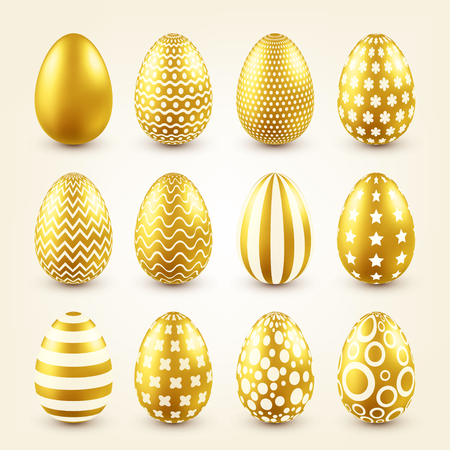 Easter golden egg. Traditional spring holidays in April or March. Sunday. Eggs and gold.Big set Zdjęcie Seryjne - 95254163