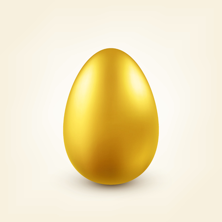 Easter golden egg. Traditional spring holidays in April or March. Sunday. Eggs and gold.