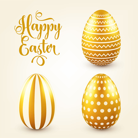 Easter golden egg with calligraphic lettering, greetings. Traditional spring holidays in April or March. Sunday. Eggs and gold. Ilustracja