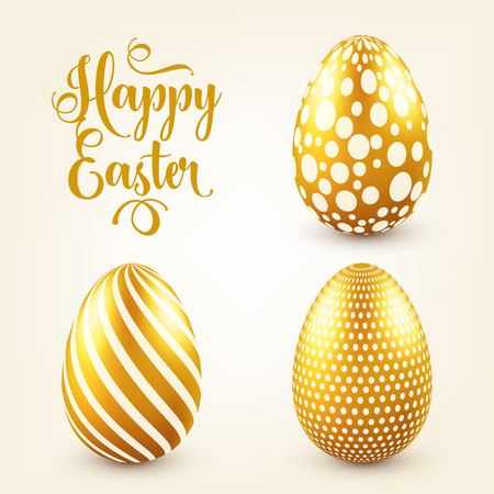 Easter golden egg with calligraphic lettering, greetings. Traditional spring holidays in April or March. Sunday. Eggs and gold. Zdjęcie Seryjne - 95254167
