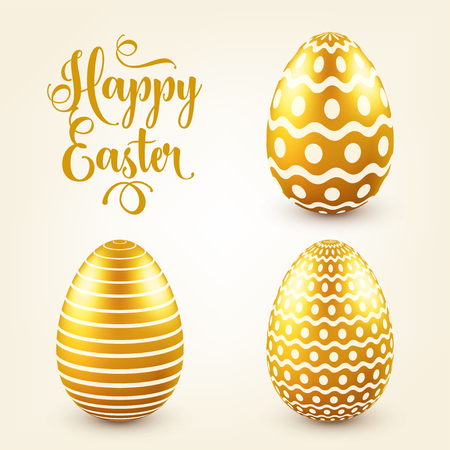 Easter golden egg with calligraphic lettering, greetings. Traditional spring holidays in April or March. Sunday. Eggs and gold. Zdjęcie Seryjne - 95254166