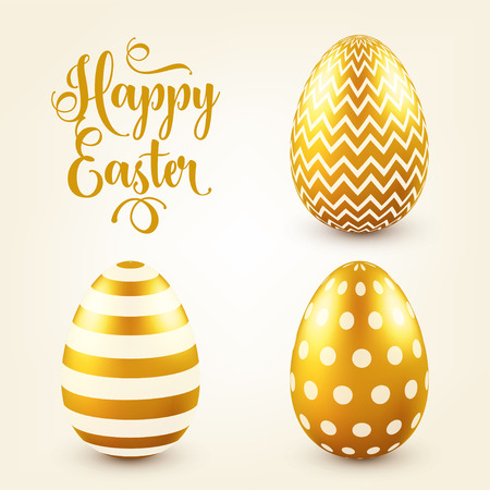 Easter golden egg with calligraphic lettering, greetings. Traditional spring holidays in April or March. Sunday. Eggs and gold. Vettoriali