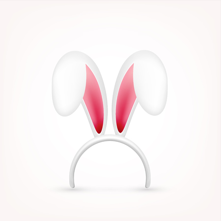 Easter Bunny Ears. Pink and White Mask with Rabbit Ear. Spring Seasonal Cute Hat. April, March Holidays. Stock Vector - 95254229