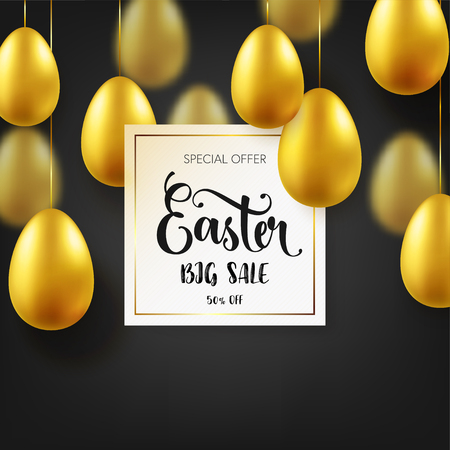 Easter golden egg with calligraphic lettering. Traditional spring holidays in April or March. Sunday. Eggs and gold. Big sale Zdjęcie Seryjne - 95570310
