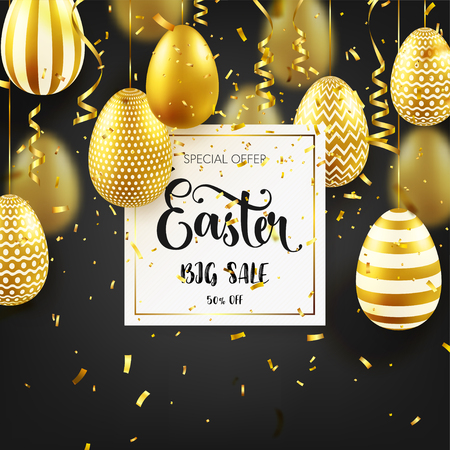 Easter golden egg with calligraphic lettering, confetti and ribbon. Traditional spring holidays in April or March. Sunday. Eggs and gold. Big sale Zdjęcie Seryjne - 95570313
