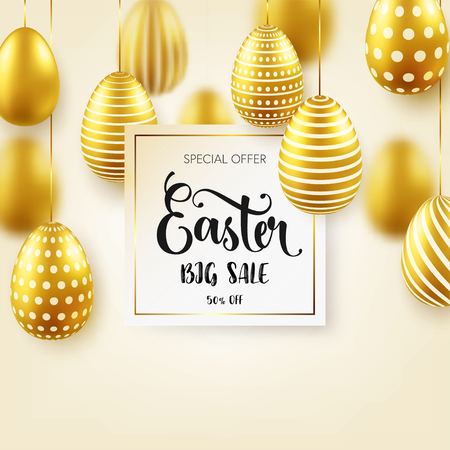 Easter golden egg with calligraphic lettering. Traditional spring holidays in April or March. Sunday. Eggs and gold. Big sale Zdjęcie Seryjne - 95570315