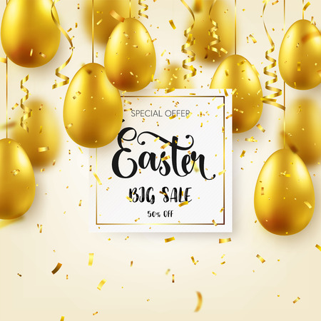 Easter golden egg with calligraphic lettering, confetti and ribbon. Traditional spring holidays in April or March. Sunday. Eggs and gold. Big sale