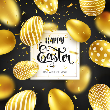 Easter golden egg with calligraphic lettering, confetti and ribbon. Traditional spring holidays in April or March. Sunday. Eggs and gold. Big sale Zdjęcie Seryjne - 95570318