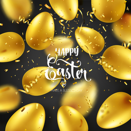Easter golden egg with calligraphic lettering, confetti and ribbon. Traditional spring holidays in April or March. Sunday. Eggs and gold. Big sale Zdjęcie Seryjne - 95570320