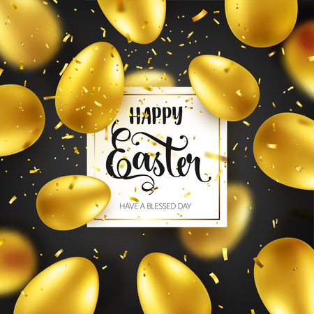 Easter golden egg with calligraphic lettering, confetti and ribbon. Traditional spring holidays in April or March. Sunday. Eggs and gold. Big sale Zdjęcie Seryjne - 95570321