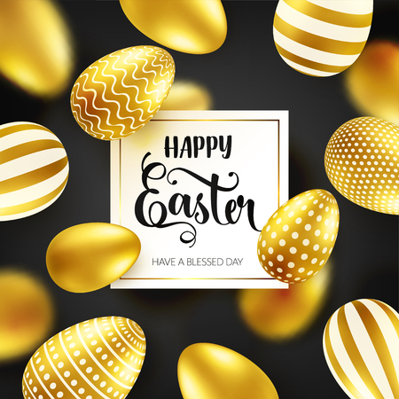 Easter golden egg with calligraphic lettering. Traditional spring holidays in April or March. Sunday. Eggs and gold. Big sale Zdjęcie Seryjne - 95570356