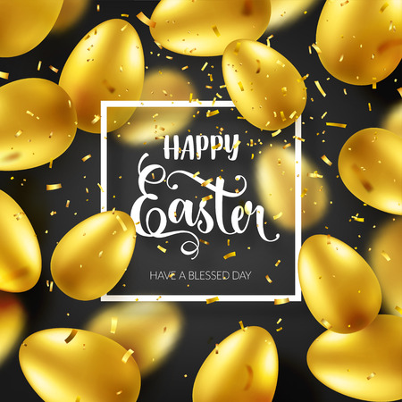 Easter golden egg with calligraphic lettering, confetti and ribbon. Traditional spring holidays in April or March. Sunday. Eggs and gold. Big sale Zdjęcie Seryjne - 95570359