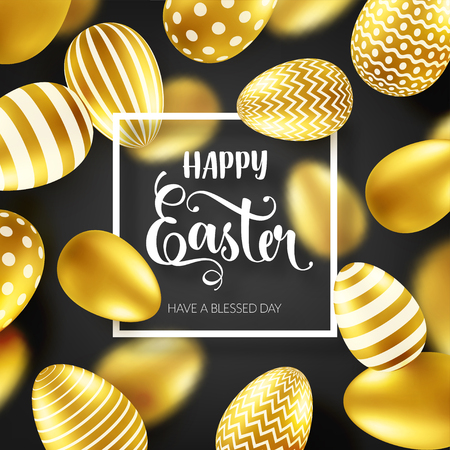 Easter golden egg with calligraphic lettering. Traditional spring holidays in April or March. Sunday. Eggs and gold. Big sale