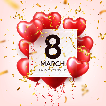 Womens day red background with heart shape balloons.