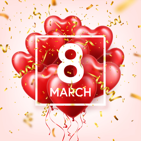 Womens day red background with balloons, heart shape, confetti and ribbon.