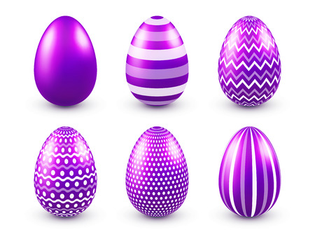 Easter eggs purple set. Spring. Holidays in April. Gift. Seasonal celebration.Egg hunt. Sunday. Imagens