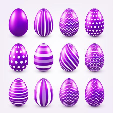 Easter eggs purple set. Spring. Holidays in April. Gift. Seasonal celebration.Egg hunt. Sunday. Ilustrace