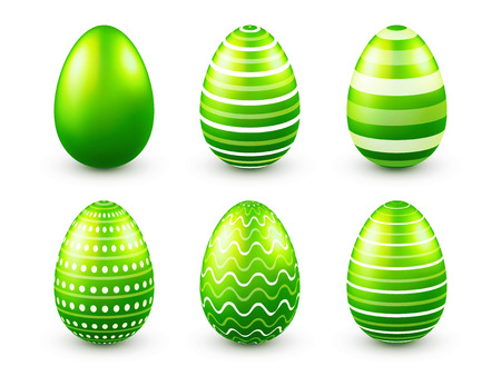 Green easter eggs with designs.