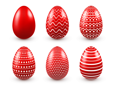 Red easter eggs with designs.