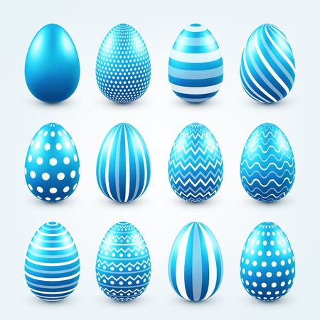 Blue easter eggs painted, vector illustration on gray background. Stock Illustratie