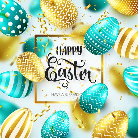 Goldenes Osterei mit kalligraphischer Beschriftung, Grüße. Konfetti und Band. Traditionelle Frühlingsferien im April oder März. Sonntag. Eier und Gold.