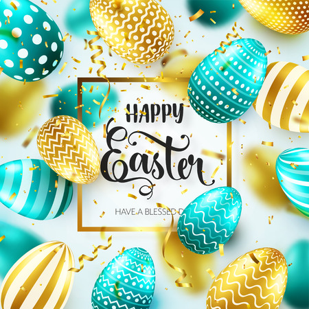 Easter golden egg with calligraphic lettering, greetings. Confetti and ribbon.Traditional spring holidays in April or March. Sunday. Eggs and gold.