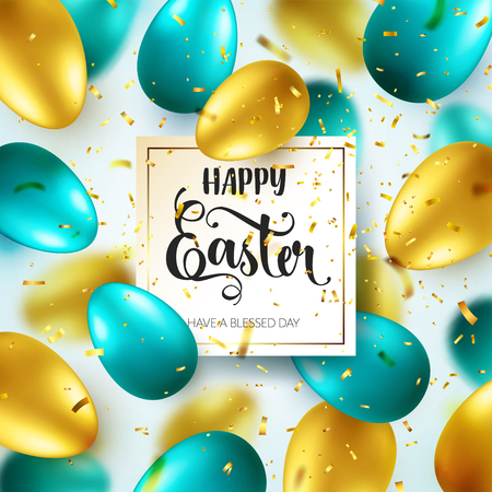 Easter golden egg with calligraphic lettering, greetings. Confetti and ribbon.Traditional spring holidays in April or March. Sunday. Eggs and gold. Zdjęcie Seryjne - 96717514