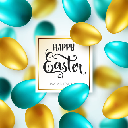 Easter golden, green egg with calligraphic lettering, greetings. Traditional spring holidays in April or March. Sunday. Eggs and gold. Zdjęcie Seryjne - 96718441