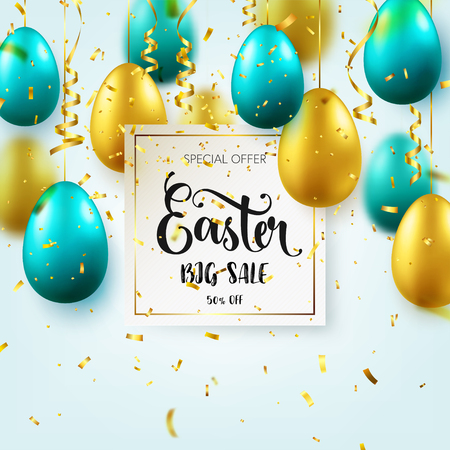 Easter golden, green egg with calligraphic lettering, greetings. Confetti and ribbon.Traditional spring holidays in April or March. Sunday. Eggs and gold.