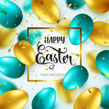 Easter golden, green egg with calligraphic lettering, greetings. Confetti and ribbon.Traditional spring holidays in April or March. Sunday. Eggs and gold. Zdjęcie Seryjne - 96718457