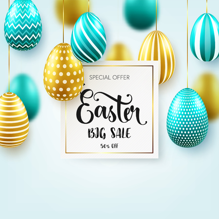 Easter golden egg with calligraphic lettering, greetings. Confetti and ribbon.Traditional spring holidays in April or March. Sunday. Eggs and gold. Zdjęcie Seryjne - 96727714