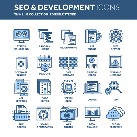 Seo and app development. Search engine optimization. Internet, e-commerce.Thin line blue web icon set. Outline icons collection. Vector illustration. Stock Illustration - 97503534