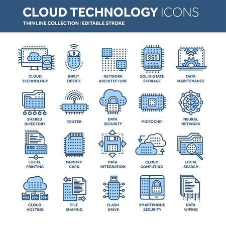 Set of cloud computing technology icons.