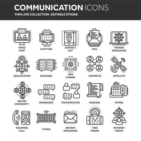 Communication. Social media. Online chatting. Phone call, app messenger. Mobile,smartphone. Computing.Email. Thin line black web icon set. Outline icons collection. Vector illustration.
