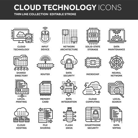 Cloud computing. Internet technology. Online services. Data, information security. Thin line black web icon set.