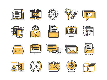 Thin line yellow web icon set. Outline icons collection. Vector illustration.