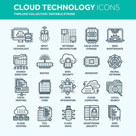 Cloud computing. Internet technology. Online services. Data, information security. Connection. Thin line web icon set. Outline icons collection.Vector illustration. Çizim