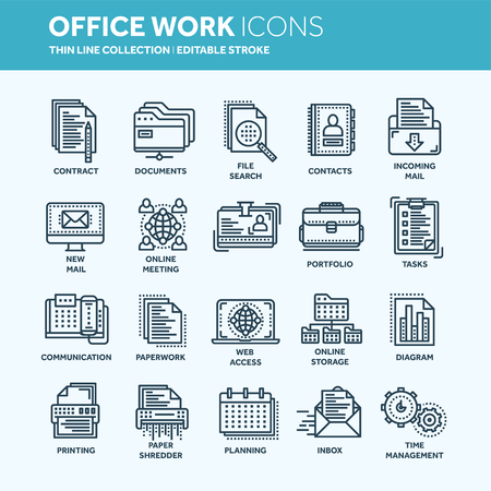 Business and office work. Documents, paperwork. Businessman. Thin line web icon set. Outline icons collection. Vector illustration. 向量圖像