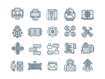 Communication. Social media. Online chatting. Phone call, app messenger. Mobile,smartphone. Computing.Email. Thin line black web icon set. Outline icons collection. Vector illustration. Vectores
