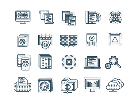 Seo and app development. Search engine optimization. Internet, e-commerce.Thin line black web icon set. Outline icons collection. Vector illustration.