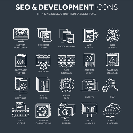 Seo and app development. Search engine optimization. Internet, e-commerce.Thin line white web icon set. Outline icons collection. Vector illustration. Illustration