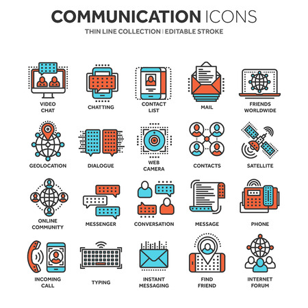 Communication. Social media. Online chatting Phone call, app messenger. Mobile, smartphone Computing Email Thin line blue web icon set. Outline icons collection. Vector illustration.