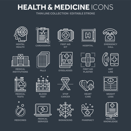 Health care, medicine. First aid. Medical blood tests and diagnostic. Heart cardiogram. Pills and drugs.Thin line white web icon set. Outline icons collection.Vector illustration. Illustration