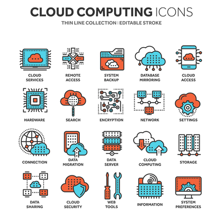 Cloud computing. Internet technology. Online services. Data, information security. Connection. Thin line blue web icon set. Outline icons collection.Vector illustration.