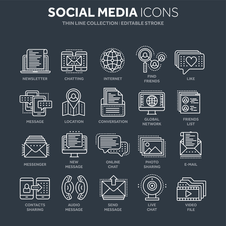 Communication. Social media. Online chatting. Phone call, app messenger. Mobile,smartphone. Computing.Email. Thin line white web icon set. Outline icons collection. Vector illustration.