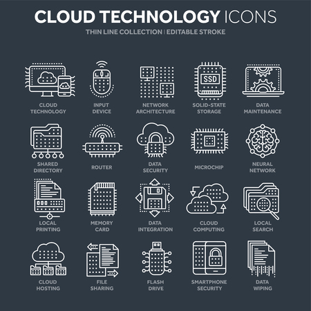 Cloud computing. Internet technology. Online services. Data, information security. Connection. Thin line white web icon set. Outline icons collection.Vector illustration.